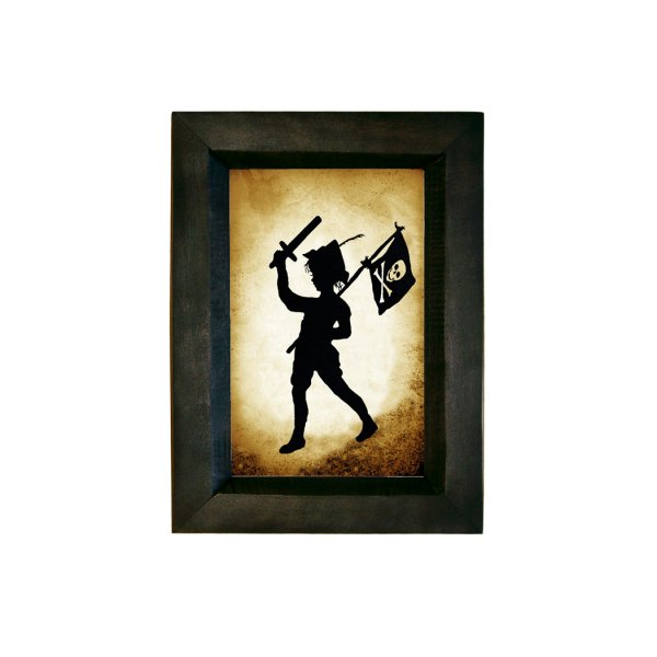 Silhouettes Frames Pirate 7-1/2″ Pirate Child Silhouette holding sword and pirate flag. Distressed Black Frame to make it look old.