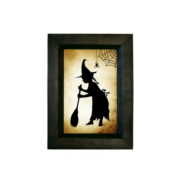 Silhouettes Frames Halloween This printed paper silhouette is behind glass in a 5-1/2 x 7-1/2″ black wooden frame.  A picture hanger is attached to the back.