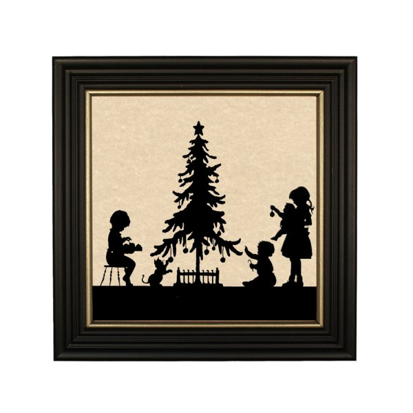 Silhouettes Frames Christmas Christmas Time Framed Paper Cut Silhouette in Black Wood Frame with Gold Trim. An 8 x 8 framed to 10 x 10.