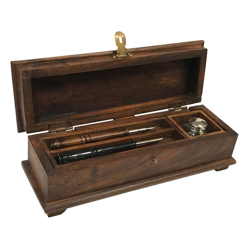 12 Colonial Distressed Teak And Mango Wood Portable Writing Pen Box With Clear Glass Inkwell Teak Wood Ox Horn Pens Black Ink Powder