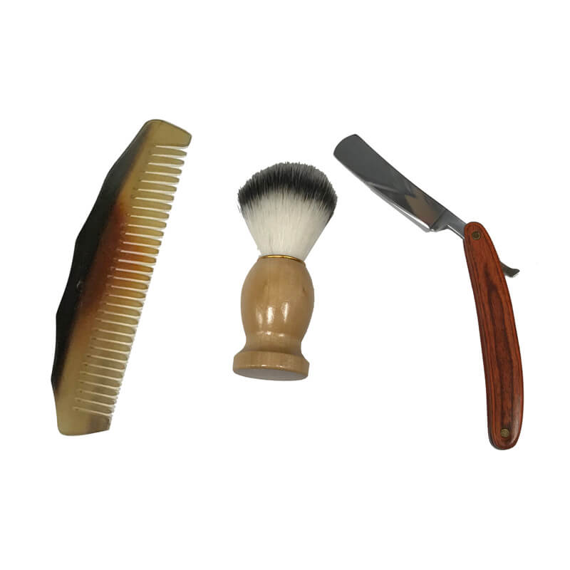 8 Colonial Traveling Teak And Mango Wood Shaving Box Including Carved Horn Comb Teak Wood Handled Straight Edge Razor And Soft Bristle Shaving Foam