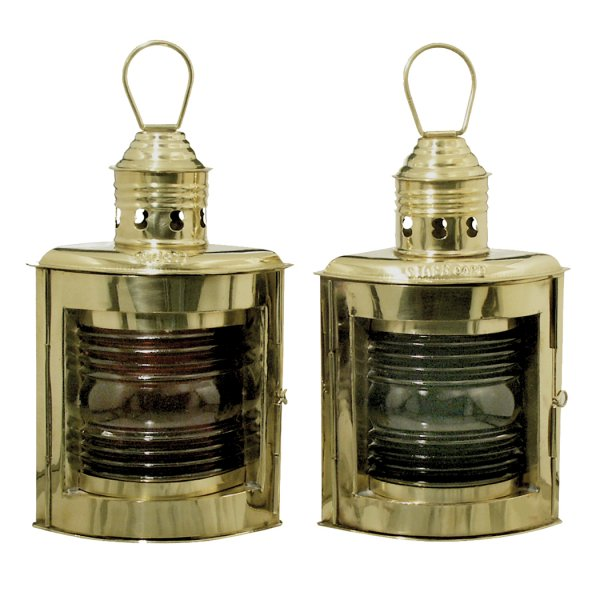 Nautical (2) 9″ Nautical Brass Port and Starboard Kerosene Lamps – Antique Vintage Style