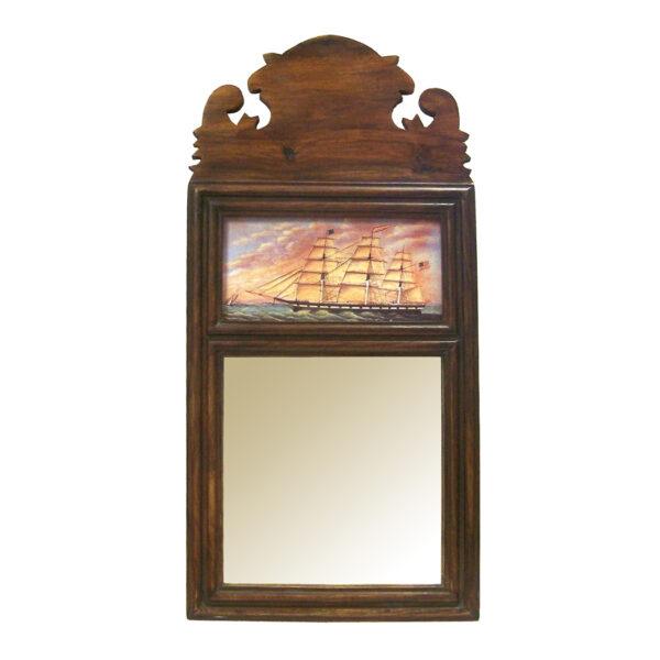 "Wood Nautical ""George West"" built in Newburyport –  1855 –  19-1/4″ Wood Framed Mirror with Print- Antique Vintage Style"