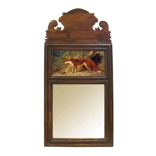 """Wood Equestrian 19-1/4″ Wood Framed Mirror with """"Fox and Feathers"""" Print- Antique Vintage Style"""