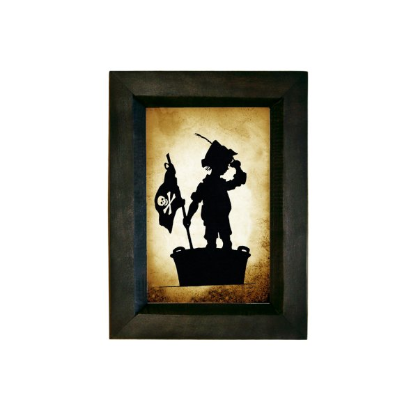 Silhouettes Pirate 7-1/2″ Child Pirate Standing in Washtub Printed Silhouette Wall Art