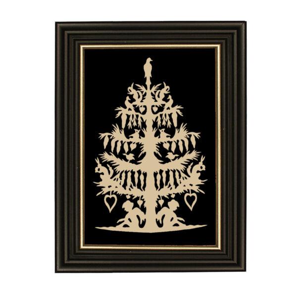 Scherenschnittes Valentines Nature's Valentine's Tree Scherenschnitte Paper Cutting in Black Frame with Gold Trim- Framed to 9″ x 12″