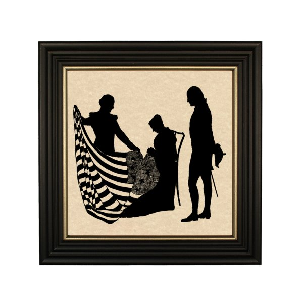 Silhouettes Revolutionary George Washington and Betsy Ross Framed Paper Cut Silhouette in Black Wood Frame with Gold Trim. An 8″ x 8″ framed to 10″ x 10″.