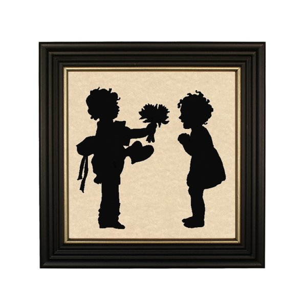Silhouettes Valentines Boy and Girl with Valentine Framed Paper Cut Silhouette in Black Wood Frame with Gold Trim. Framed to 10 x 10″.
