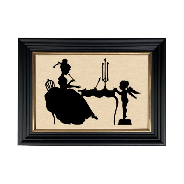 Silhouettes Valentines Consulting Cupid Framed Paper Cut Silhouette in Black Wood Frame with Gold Trim. Framed to 8-3/4 x 12″.