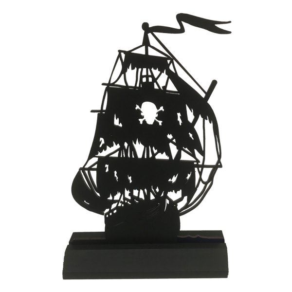 Pirate Silho Pirate Black Pearl Pirate Ship Standing Wood Silhouette Halloween Pirate Party Tabletop Ornament Sculpture Decoration