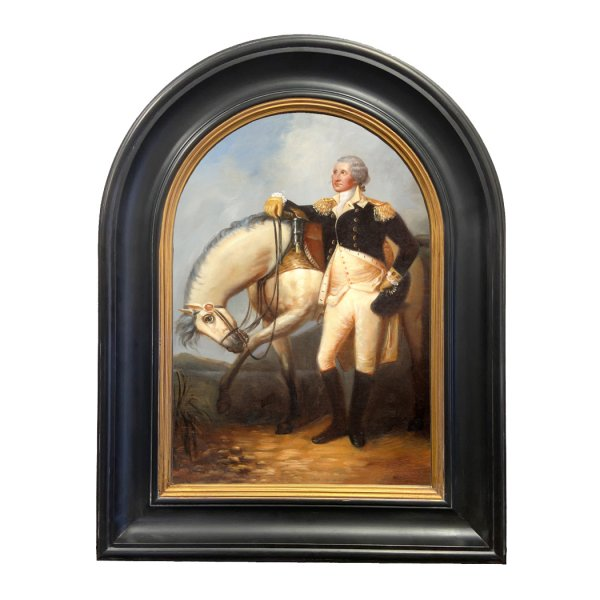 Revolutionary Paintings Revolutionary 14″ x 20″ General George Washington with Horse Framed Oil Painting Print on Canvas in Black and Gold Arched Frame
