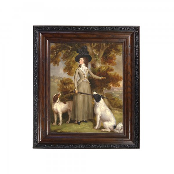 Sporting and Lodge Paintings Framed Art The Countess of Effingham by George Haugh Oil Painting Print Reproduction on Canvas in Brown and Black Solid Oak Frame- 15-1/2″ x 18-1/2″