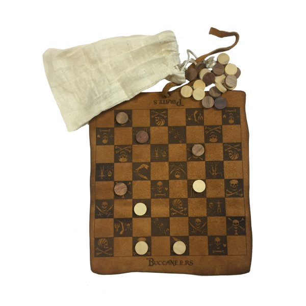 Games Pirate 9-1/2″ Pirate and Buccaneers Flag Checkers burnt into the leather. Checkers wood and packaged in a muslin bag. Then rolled and tied with a leather strap.