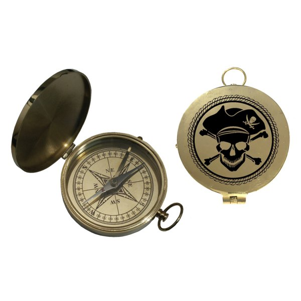 Nautical Instruments Pirate 3″ Flip Top Brass Pocket Compass Antique Reproduction with Printed Pirate