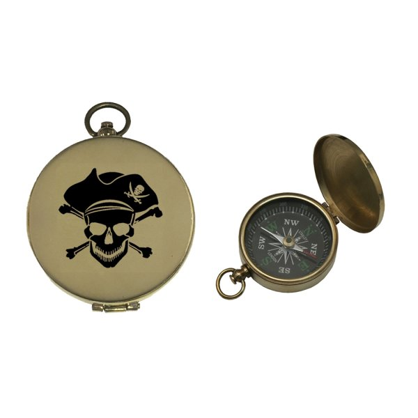Nautical Instruments Pirate 1-3/4″ Brass compass with black pirate face and flip-up lid.