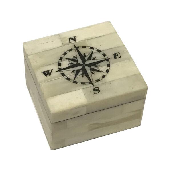 Scrimshaw Boxes Nautical 3-1/4″ Compass Rose Vintage Scrimshaw Bone Box Antique Reproduction