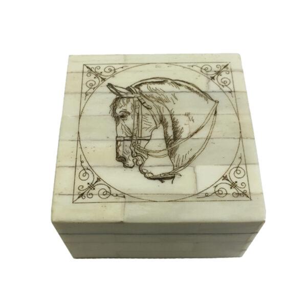 Scrimshaw Boxes Equestrian 3-1/4″ Horse Head Scrimshaw Bone Box Antique Reproduction with Lift-Off Lid