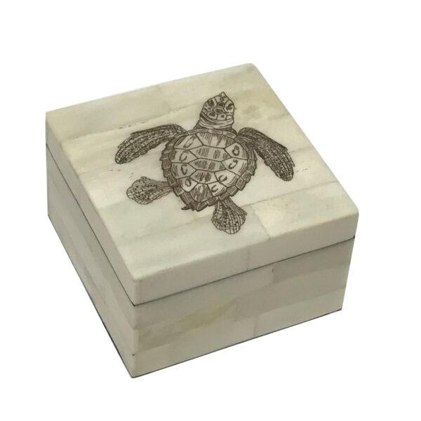 Scrimshaw Boxes Sea Creatures 3-1/4″ Sea Turtle Vintage Scrimshaw Bone Box Antique Reproduction with Lift-Off Lid