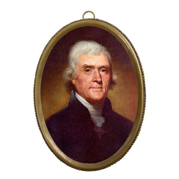 Home Decor Revolutionary 6-1/4″ Thomas Jefferson Print in Antiqued Beaded Brass Frame- Antique Vintage Style