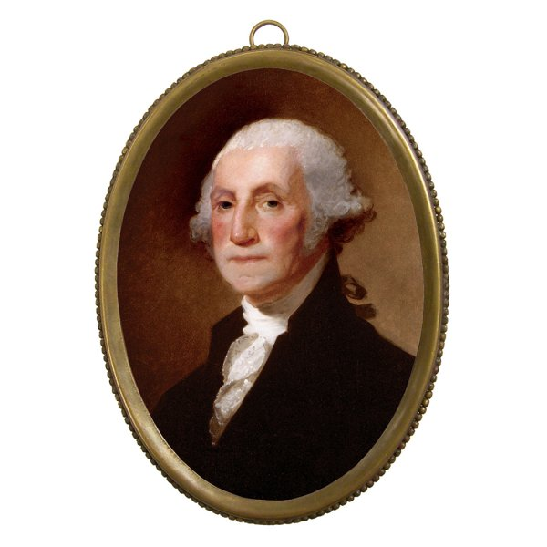 Home Decor Revolutionary 6-1/4″ George Washington Print in Antiqued Beaded Brass Frame- Antique Vintage Style