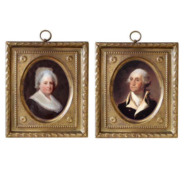 Home Decor Revolutionary 4-1/2″ George and Martha Washington Reproduction Prints (Set of 2) in Embossed Brass Frames