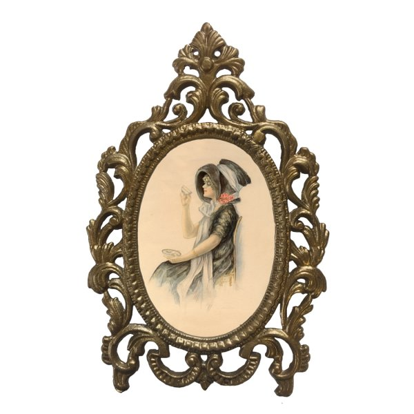 Home Decor Framed Art 7-1/2″ X 5″ Tea Time in Metal Alloy (Brass Painted Finish) Victorian Tabletop Frame – Antique Vintage Style