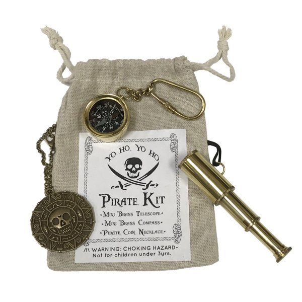 Toys Pirate Pirate Birthday Party Favor Kit – Brass Telescope Necklace –  Coin Necklace –  and Brass Compass Key Chain in Cloth Bag