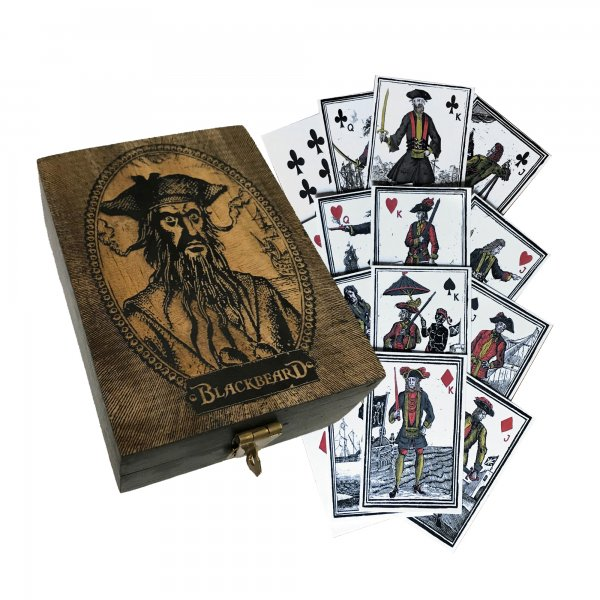 Games Pirate Engraved Blackbeard Edward Teach Portrait Wood Box with Pirate-Themed Playing Cards- Antique Vintage Style