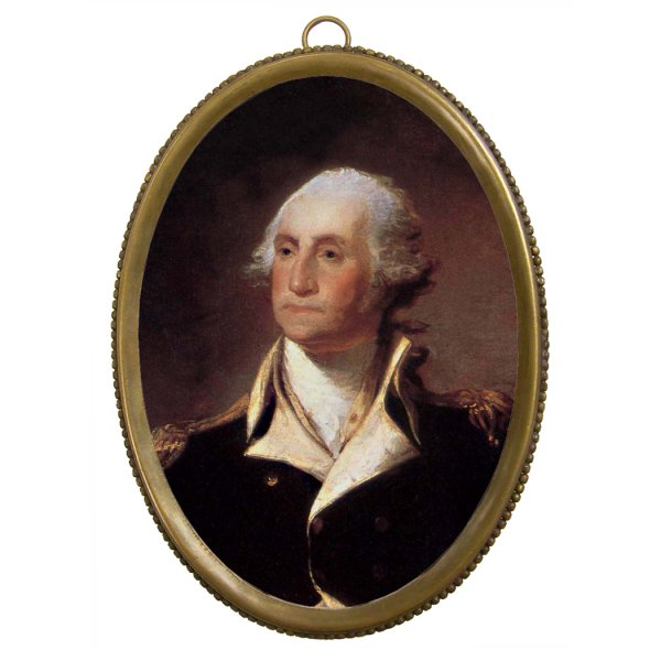 Home Decor Revolutionary 6-1/4″ George Washington in Uniform Print in Antiqued Beaded Brass Frame – Antique Vintage Style