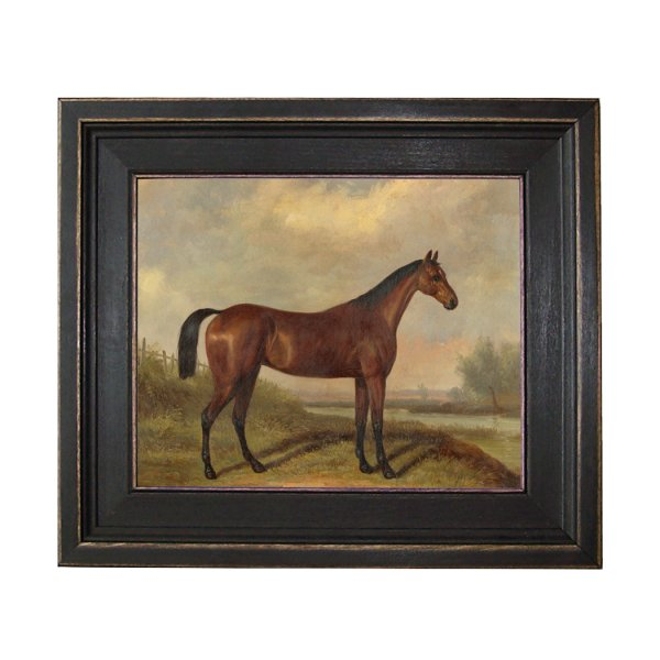 Painting Print Sm Frames Hunter in a Landscape Framed Oil Painting Print on Canvas. 8 x 10″ framed to 11-1/2 x 13-1/2″. Horse –  Equestrian –  Landscape –  Thoroughbred –  Sporting Art
