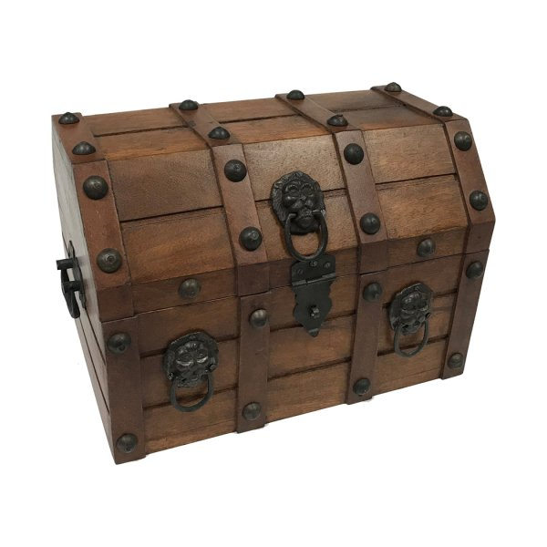 Trunks Pirate 11-3/4″ Authentic Pirate Loot Chest Antique Reproduction in Mango  and  Teak Wood