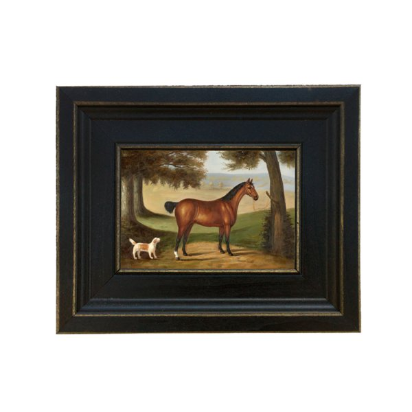 Painting Print Sm Frames Equestrian Horse and Dog Landscape Framed Oil Painting Print on Canvas in Distressed Black Wood Frame. A 5 x 6 framed to 8-1/2 x 9-1/2.