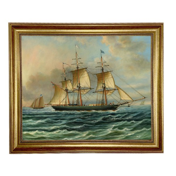Painting Print Lg Frames Nautical Baltimore Clipper Architec Framed Oil Painting Print on Canvas in Antiqued Gold Frame. A 16″ x 20″ framed to 19-1/2″ x 23-1/2″.