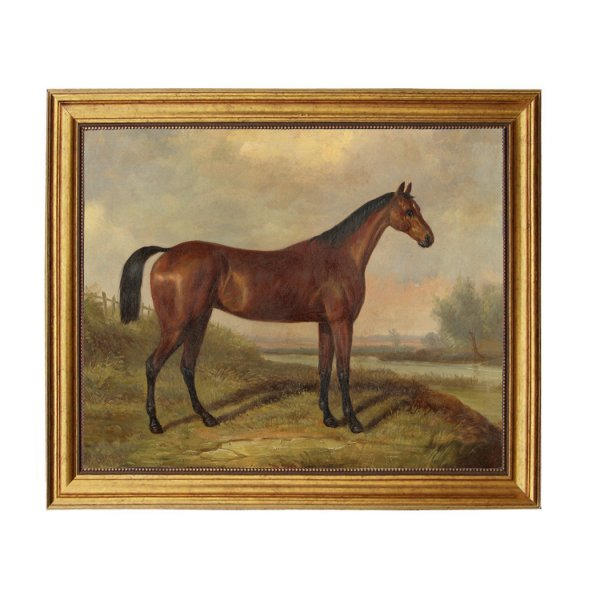 Painting Print Lg Frames Equestrian Hunter in a Landscape Framed Oil Painting Print on Canvas in Antiqued Gold Frame. A 16″ x 20″ framed to 19-1/2″ x 23-1/2″.