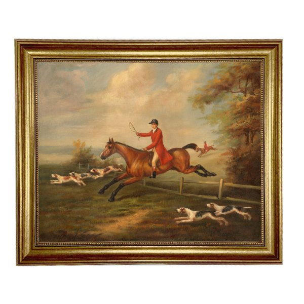 Painting Print Lg Frames Nautical Fox Hunting Scene Painting By J.N. Sartorius (c.1810) Framed Oil Painting Print on Canvas in Antiqued Gold Frame. A 16″ x 20″ framed to 19-1/2″ x 23-1/2″.