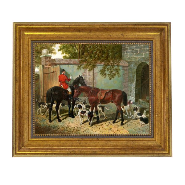 Painting Print Sm/Med Frames Equestrian Preparing for the Hunt Framed Oil Painting Print on Canvas in Antiqued Gold Frame. An 8 x 10 framed to 11-1/2 x 13-1/2.