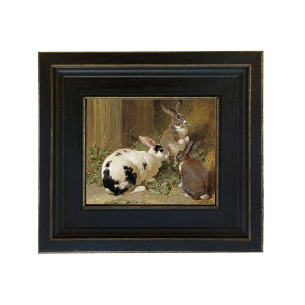 Painting Print Sm Frames Farm Three Rabbits Framed Oil Painting Print on Canvas in Distressed Black Wood Frame. A 5 x 6 framed to 8-1/2 x 9-1/2. by John Frederick Herring Sr. 1851