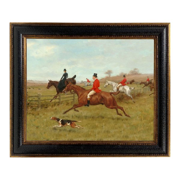 Painting Print Lg Frames Equestrian The Chase Framed Oil Painting Print on Canvas in Leather-Look Black and Antiqued Gold Frame. A 16×20″ framed to 21-1/2″ x 25-1/2″.