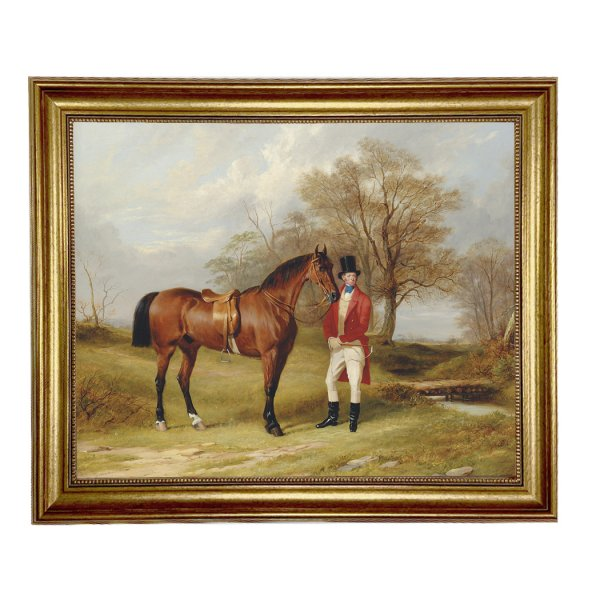 Painting Print Lg Frames Equestrian Gentleman Standing Beside Saddled Hunter Framed Oil Painting Print on Canvas in Antiqued Gold Frame. A 16″ x 20″ framed to 19-1/2″ x 23-1/2″.
