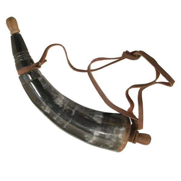 Horn Revolutionary 13″ Powder Horn with Wooden Plug- Antique Vintage Style
