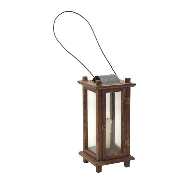 Wood Early American 12-1/2″ Colonial Lantern- Antique Reproduction
