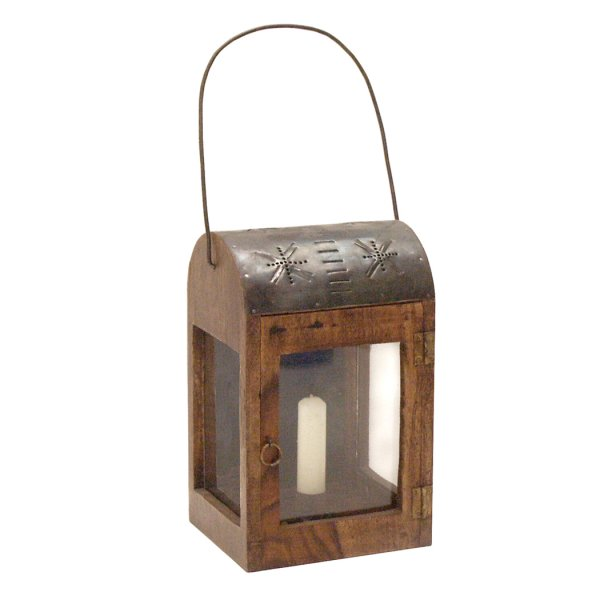 Wood Early American 10″ Rustic Colonial Lantern with Punched-Tin Top- Antique Reproduction