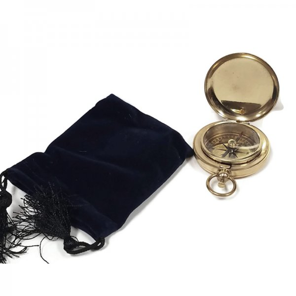 Brass Nautical 1-7/8″ Antique Solid Polished Brass Vintage Pocket Compass with Felt Storage  and  Carrying Pouch.