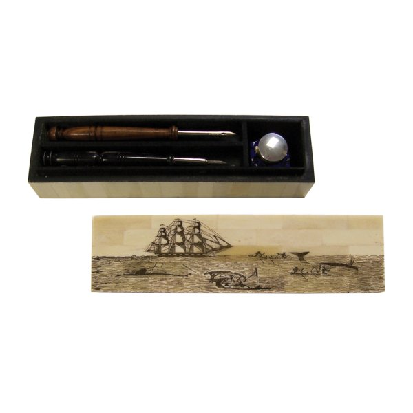 Desk Top Nautical 10″ Whaling Bone Pen Box with Cobalt Inkwell –  Wood Nib Pen –  Black Horn Nib Pen and Ink Powder- Antique Vintage Style