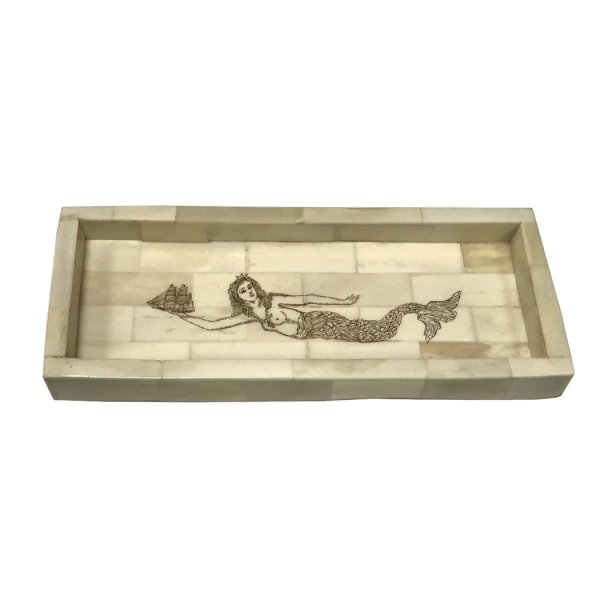 Bone Nautical 10″ x 4″ Engraved Mermaid Scrimshaw Bone Tray- Antique Vintage Style