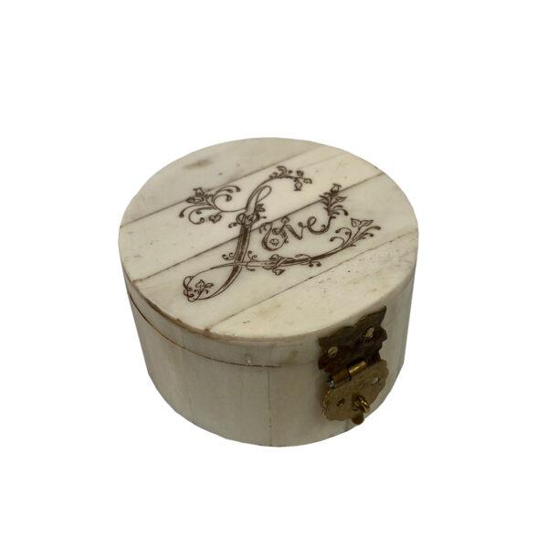 "Bone Valentines 2-1/4″ Round Bone Ring Box Engraved with ""Love""- Antique Vintage Style"
