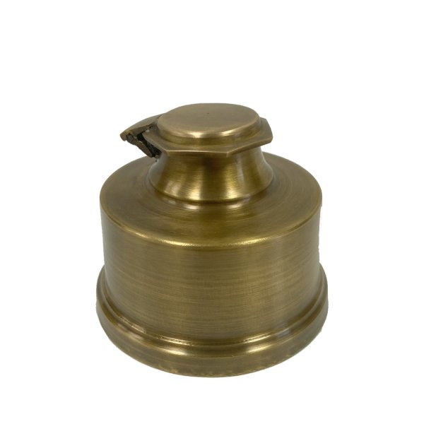 Brass Writing 3-1/4″ Historical Antiqued Brass Inkwell with Quill Nib Pens and Ink