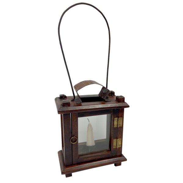 Wood Early American 8-1/2″ Colonial Lantern- Antique Reproduction