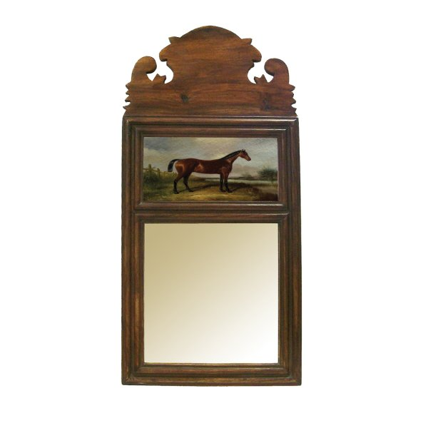 Wood Equestrian 19-1/4″ Wood Framed Mirror with Horse Print- Antique Vintage Style