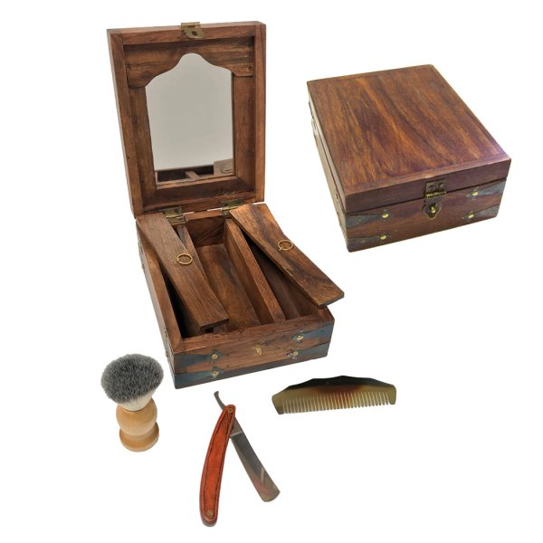 Wood Early American 8″ Colonial Traveling Teak and Mango Wood Shaving Box including Horn Comb –  Teak Wood-Handled Straight Edge Razor and Soft Bristle Shaving Foam Brush with Pine Contoured Handle